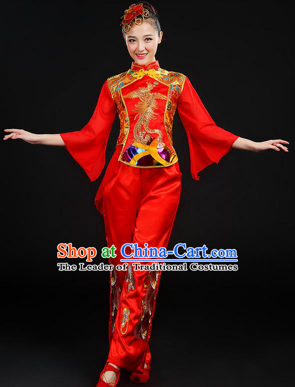Traditional Chinese Yangge Fan Dancing Costume, Folk Dance Yangko Mandarin Sleeve Uniforms, Classic Umbrella Dance Elegant Dress Drum Dance Phoenix Clothing for Women