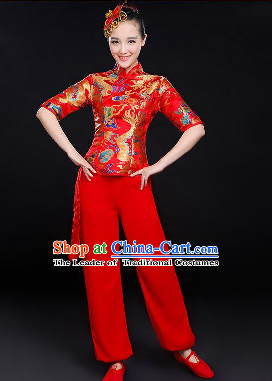 Traditional Chinese Yangge Fan Dancing Costume, Folk Dance Yangko Dragon Uniforms, Classic Umbrella Dance Elegant Dress Drum Dance Red Clothing for Women