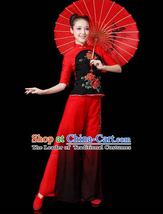 Traditional Chinese Yangge Fan Dancing Costume, Folk Dance Yangko Peony Uniforms, Classic Umbrella Dance Elegant Dress Drum Dance Red Clothing for Women