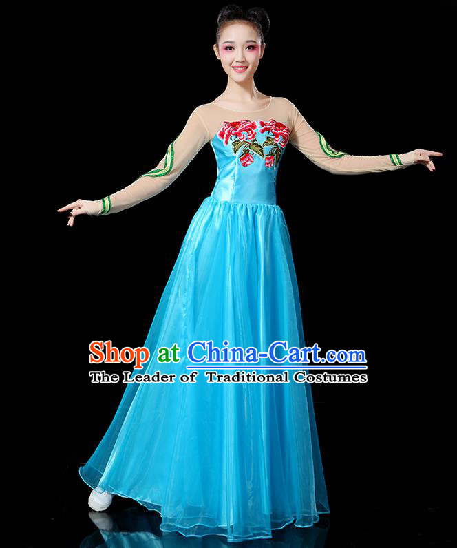 Traditional Chinese Yangge Fan Dancing Costume, Folk Dance Yangko Flowers Peony Uniforms, Classic Umbrella Dance Elegant Blue Dress Drum Dance Clothing for Women