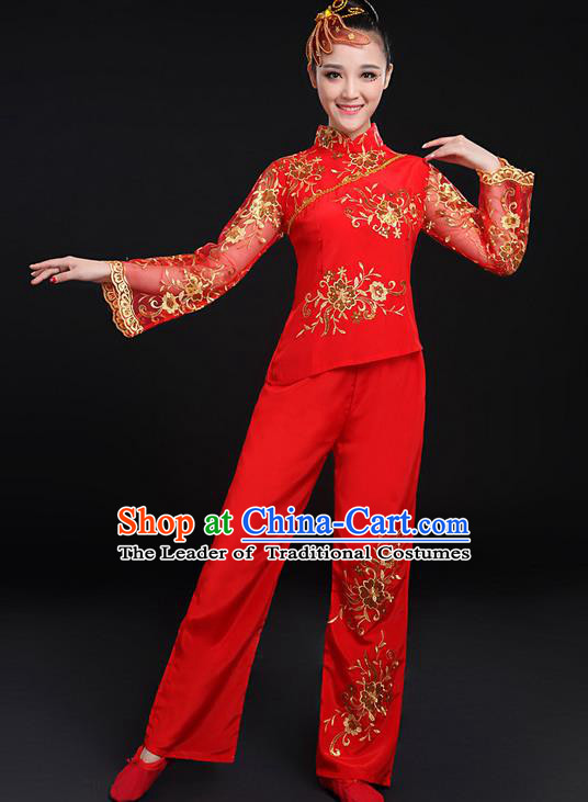 Traditional Chinese Yangge Fan Dancing Costume, Folk Dance Yangko Gilding Flowers Peony Uniforms, Classic Umbrella Dance Elegant Dress Drum Dance Red Clothing for Women