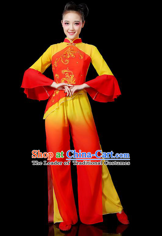 Traditional Chinese Yangge Fan Dancing Costume, Folk Dance Yangko Flowers Mandarin Sleeve Embroidered Peony Uniforms, Classic Umbrella Dance Elegant Dress Drum Dance Clothing for Women