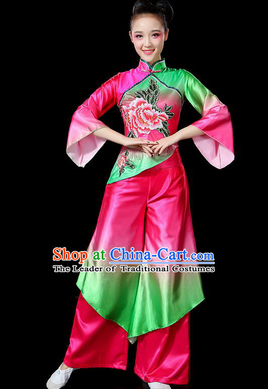 Traditional Chinese Yangge Fan Dancing Costume, Folk Dance Yangko Flowers Peony Uniforms, Classic Umbrella Dance Elegant Dress Drum Dance Clothing for Women