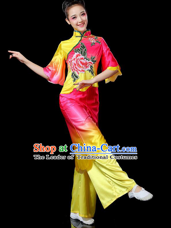 Traditional Chinese Yangge Fan Dancing Costume, Folk Dance Yangko Flowers Peony Uniforms, Classic Umbrella Dance Elegant Dress Drum Dance Pink Clothing for Women