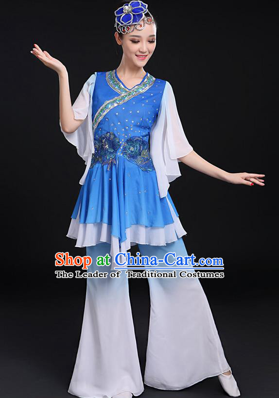 Traditional Chinese Yangge Fan Dancing Costume, Folk Dance Yangko Flowers Mandarin Sleeve Uniforms, Classic Umbrella Dance Elegant Dress Drum Dance Blue Clothing for Women