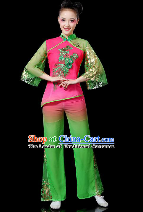 Traditional Chinese Yangge Fan Dancing Costume, Folk Dance Yangko Mandarin Sleeve Uniforms, Classic Umbrella Dance Elegant Dress Drum Dance Green Clothing for Women