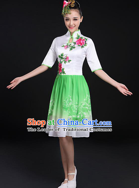Traditional Chinese Modern Dancing Compere Costume, Women Opening Classic Chorus Singing Group Dance Bubble Peony Uniforms, Modern Dance Classic Dance Big Swing Cheongsam Green Dress for Women