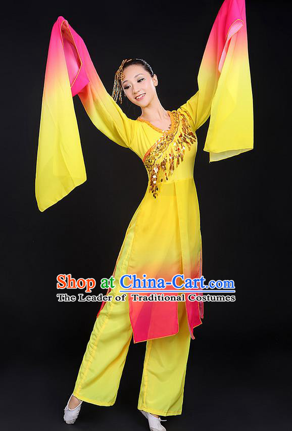 Traditional Chinese Yangge Fan Dancing Costume, Folk Dance Yangko Water Sleeve Paillette Uniforms, Classic Umbrella Dance Elegant Dress Drum Dance Clothing for Women