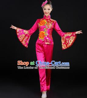 Traditional Chinese Yangge Fan Dancing Costume, Folk Dance Yangko Mandarin Sleeve Satin Peony Uniforms, Classic Umbrella Dance Elegant Dress Drum Dance Rose Clothing for Women