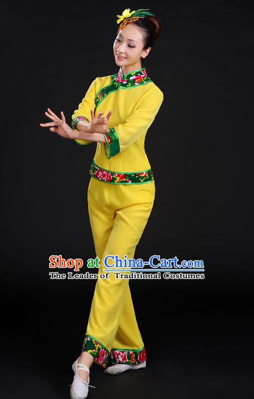Traditional Chinese Yangge Fan Dancing Costume, Folk Dance Yangko Yellow Uniforms, Classic Umbrella Dance Elegant Dress Drum Dance Clothing for Women