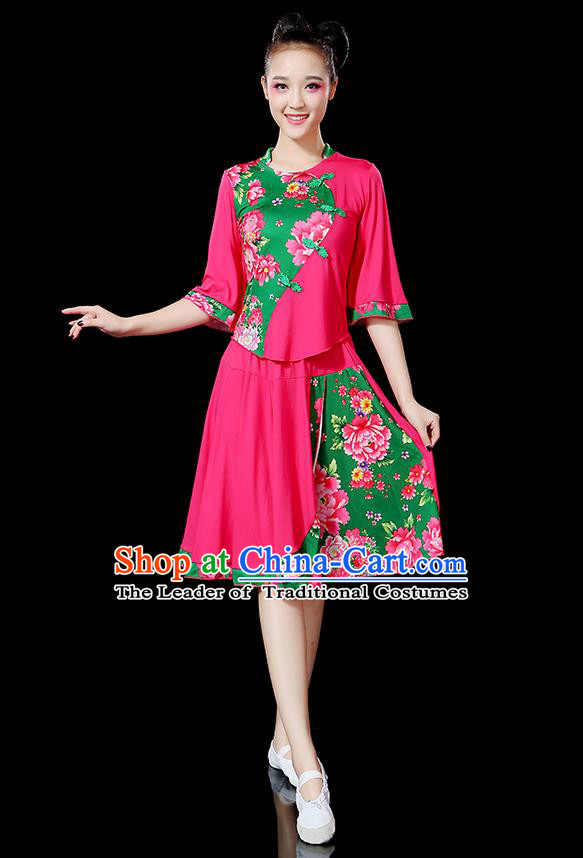 Traditional Chinese Yangge Fan Dancing Costume, Folk Dance Yangko Mandarin Sleeve Satin Peony Uniforms, Classic Umbrella Dance Elegant Dress Drum Dance Pink Clothing for Women