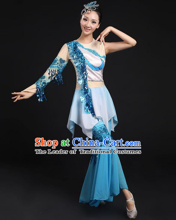 Traditional Chinese Yangge Fan Dancing Costume, Folk Dance Yangko Flowers Paillette Blue Uniforms, Classic Umbrella Dance Elegant Dress Drum Dance Clothing for Women