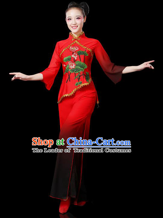 Traditional Chinese Yangge Fan Dancing Costume, Folk Dance Yangko Gradient Red Uniforms, Classic Umbrella Dance Elegant Dress Drum Dance Clothing for Women