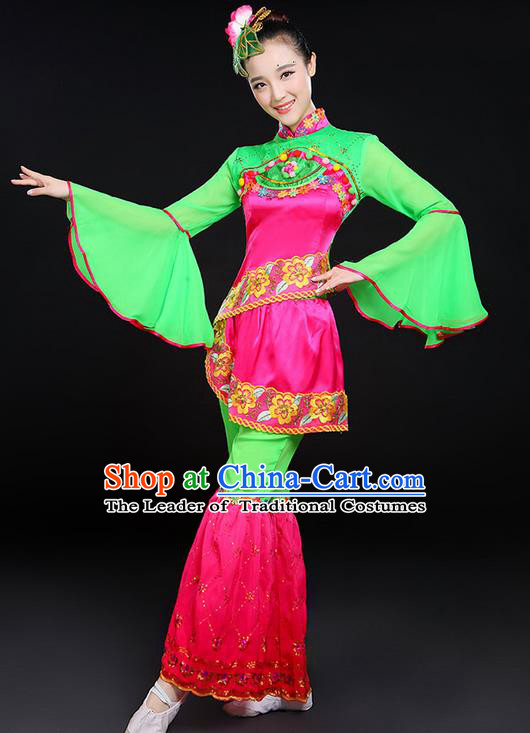 Traditional Chinese Yangge Fan Dancing Costume, Folk Dance Yangko Lotus Dance Mandarin Sleeve Uniforms, Classic Umbrella Dance Elegant Dress Drum Dance Clothing for Women