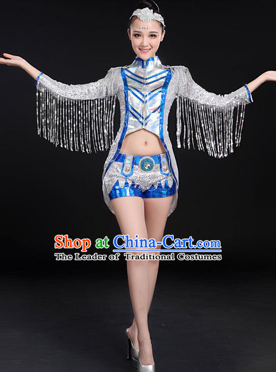 Traditional Chinese Modern Dancing Compere Costume, Women Opening Classic Jazz Dance Mandarin Collar Uniforms, Modern Dance Jazziness Dance Paillette Tassel Dress for Women