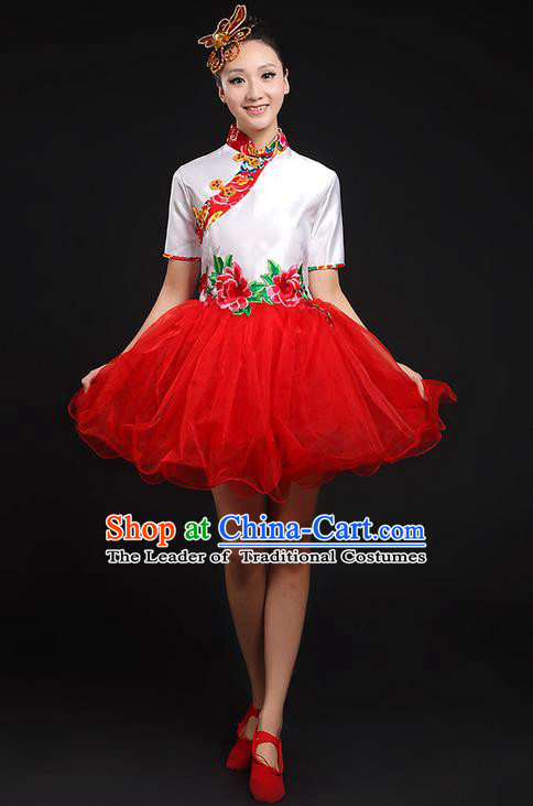 Traditional Chinese Yangge Fan Dancing Costume, Folk Dance Yangko Red Uniforms, Classic Umbrella Dance Elegant Cheongsam Short Dress Drum Dance Clothing for Women