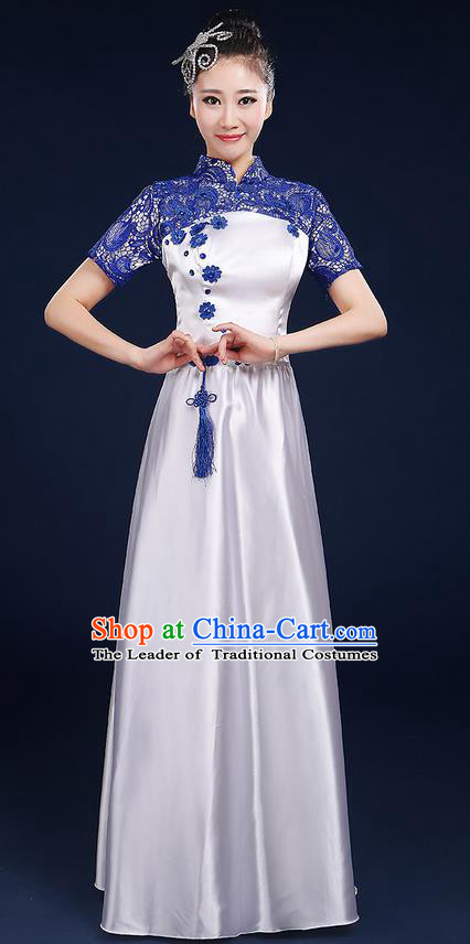 Traditional Chinese Style Modern Dancing Compere Costume, Women Opening Classic Chorus Singing Group Dance Blue and White Porcelain Uniforms, Modern Dance Classic Dance Blue Lace Cheongsam Dress for Women