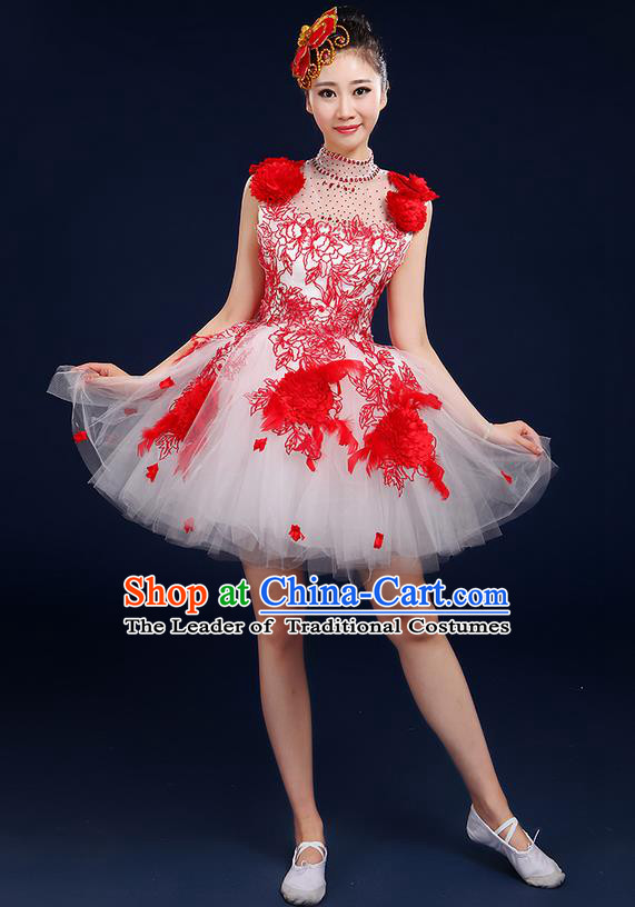 Traditional Chinese Style Modern Dancing Compere Costume, Women Opening Classic Chorus Singing Group Dance Big Swing Uniforms, Modern Dance Classic Dance Red Bubble Dress for Women