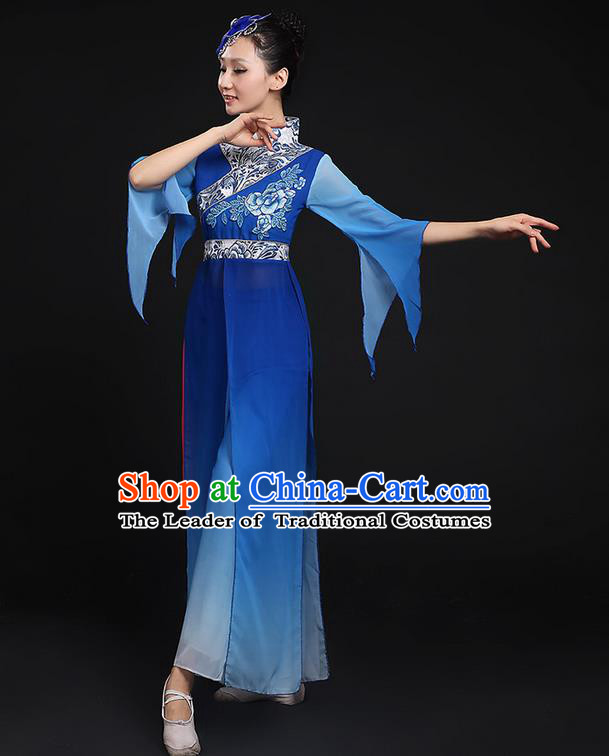 Traditional Chinese Yangge Fan Dancing Costume, Folk Dance Yangko Blue Uniforms, Classic Umbrella Dance Elegant Cheongsam Peony Dress Drum Dance Clothing for Women