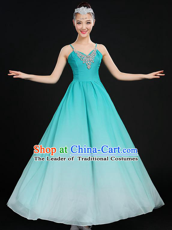 Traditional Chinese Modern Dancing Compere Costume, Women Opening Classic Chorus Singing Group Dance Dress Uniforms, Modern Dance Classic Dance Big Swing Blue Dress for Women