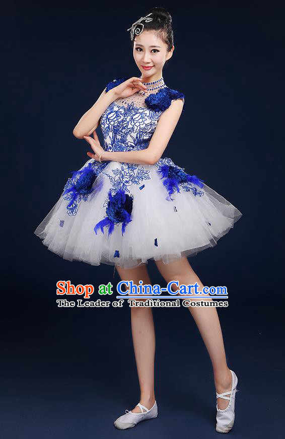 Traditional Chinese Style Modern Dancing Compere Costume, Women Opening Classic Chorus Singing Group Dance Big Swing Uniforms, Modern Dance Classic Dance Blue Bubble Dress for Women