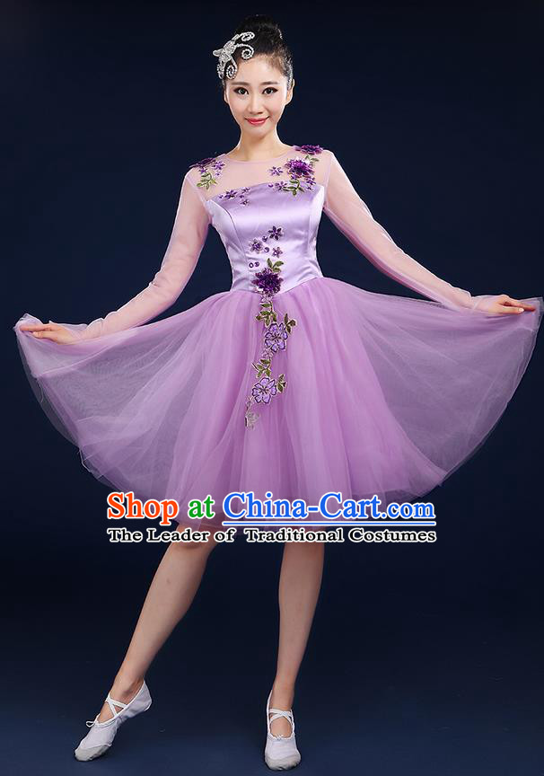 Traditional Chinese Modern Dancing Compere Costume, Women Opening Classic Chorus Singing Group Dance Bubble Uniforms, Modern Dance Classic Dance Big Swing Purple Short Dress for Women