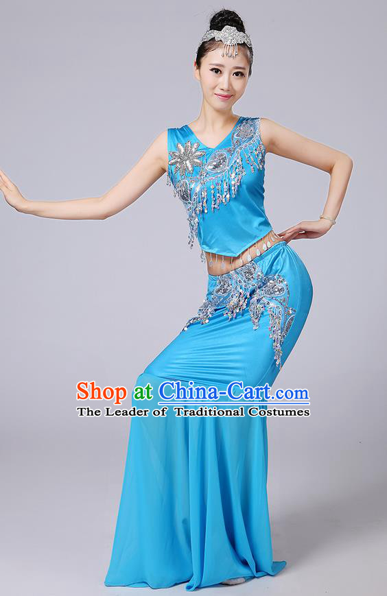 Traditional Chinese Dai Nationality Peacock Dancing Costume, Folk Dance Ethnic Paillette Tassel Fishtail Dress Palace Princess Uniform, Chinese Minority Nationality Dancing Blue Clothing for Women