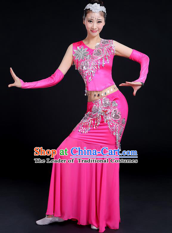 Traditional Chinese Dai Nationality Peacock Dancing Costume, Folk Dance Ethnic Paillette Tassel Fishtail Dress Palace Princess Uniform, Chinese Minority Nationality Dancing Pink Clothing for Women