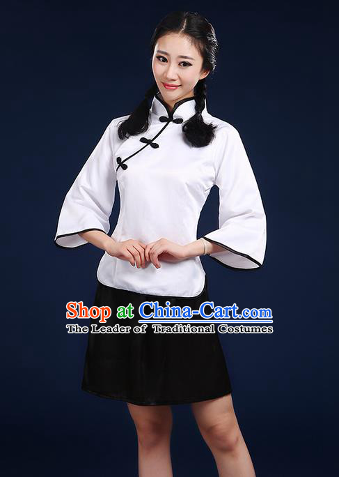 Traditional Chinese Style Modern Dancing Compere Costume, Women Chorus Singing Group Opening Classic Dance Republic of China Students White Uniforms, Modern Dance Cheongsam Blouse Dress for Women
