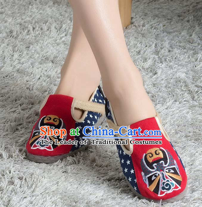 Traditional Chinese Shoes, China Handmade Linen Embroidered Beijing Opera Facial Masks Red Shoes, Ancient Princess Cloth Shoes for Women