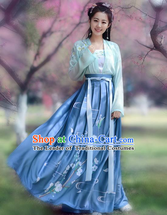 Traditional Ancient Chinese Young Lady Costume Embroidered Blouse and Skirt Complete Set , Elegant Hanfu Clothing Chinese Song Dynasty Imperial Princess Clothing for Women