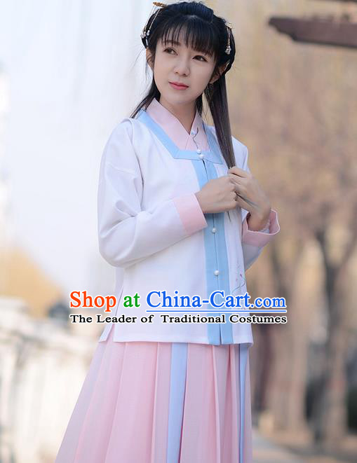 Traditional Ancient Chinese Young Lady Costume Embroidered Sleeveless Over-dress, Elegant Hanfu Vests Clothing Chinese Ming Dynasty Imperial Princess Dress Clothing for Women