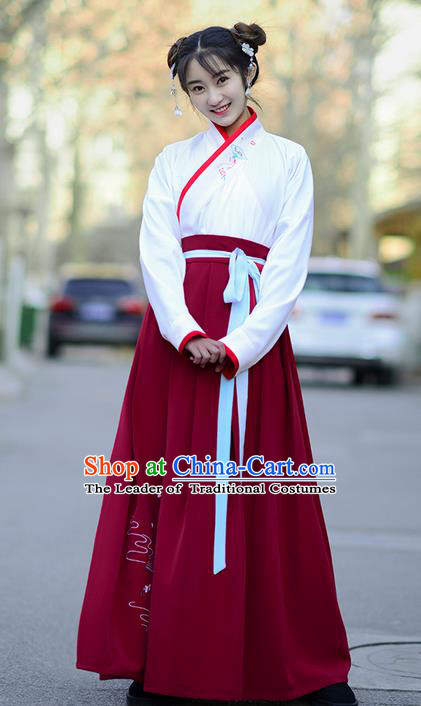 Traditional Ancient Chinese Young Lady Costume Embroidered Blouse and Red Slip Skirt Complete Set , Elegant Hanfu Suits Clothing Chinese Ming Dynasty Imperial Princess Dress Clothing for Women