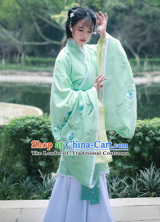 Traditional Ancient Chinese Young Lady Costume Embroidered Song Fringing and Belt, Elegant Hanfu Curving-Front Unlined Garment Dress Chinese Ming Dynasty Imperial Princess Dress Clothing for Women