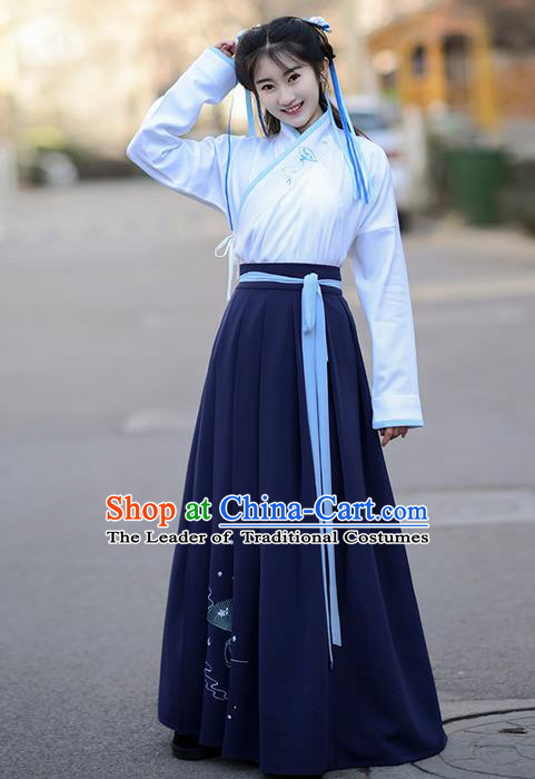 Traditional Ancient Chinese Palace Lady Costume Embroidered Blouse and Slip Skirt Complete Set , Elegant Hanfu Suits Clothing Chinese Han Dynasty Imperial Princess Dress Clothing for Women