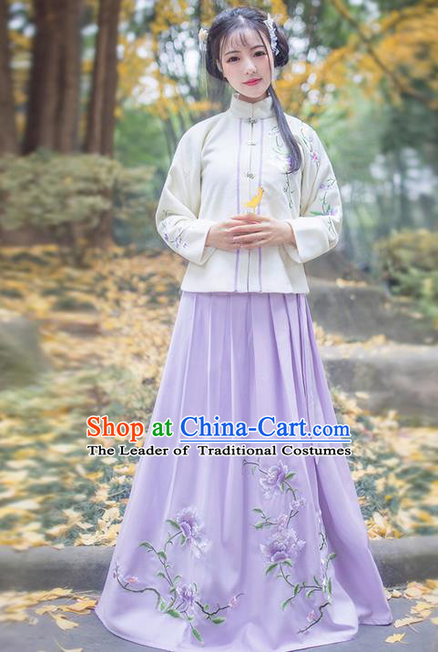 Traditional Ancient Chinese Young Lady Elegant Costume Embroidered Front Opening Blouse and Purple Slip Skirt Complete Set, Elegant Hanfu Clothing Chinese Ming Dynasty Imperial Princess Clothing for Women