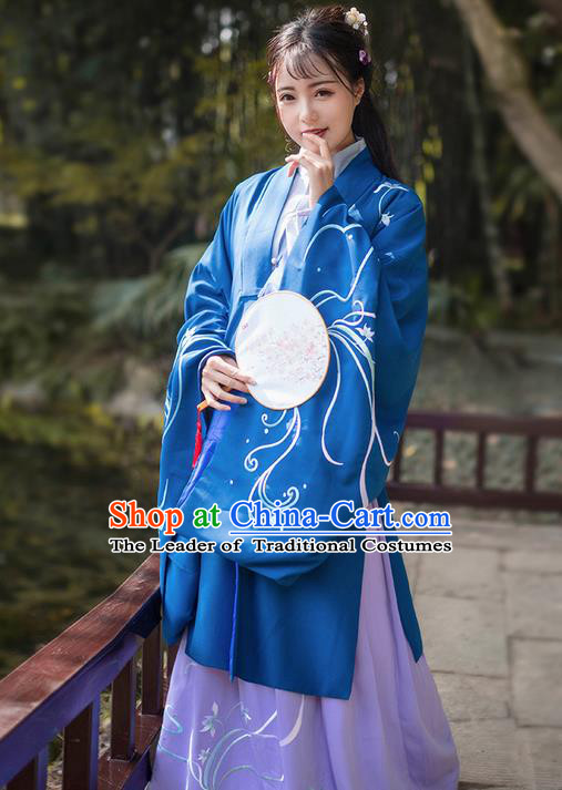 Traditional Ancient Chinese Young Lady Elegant Costume Embroidered Wide Sleeve Cardigan, Elegant Hanfu Clothing Chinese Jin Dynasty Imperial Princess Clothing for Women