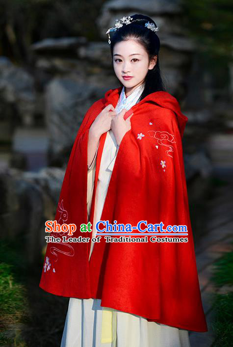 Traditional Chinese Ancient Ming Dynasty Princess Embroidered Mantle Cape for Women