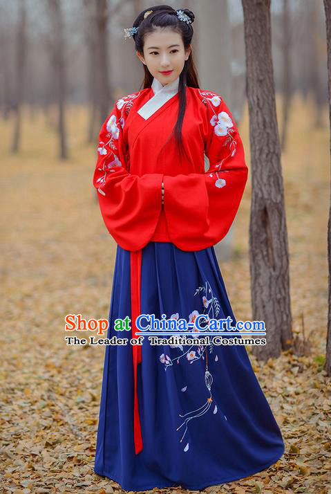 Traditional Ancient Chinese Young Lady Elegant Costume Embroidered Sleeve Pocket Slant Opening Blue Blouse and Slip Skirt Complete Set, Elegant Hanfu Clothing Chinese Ming Dynasty Imperial Princess Clothing for Women