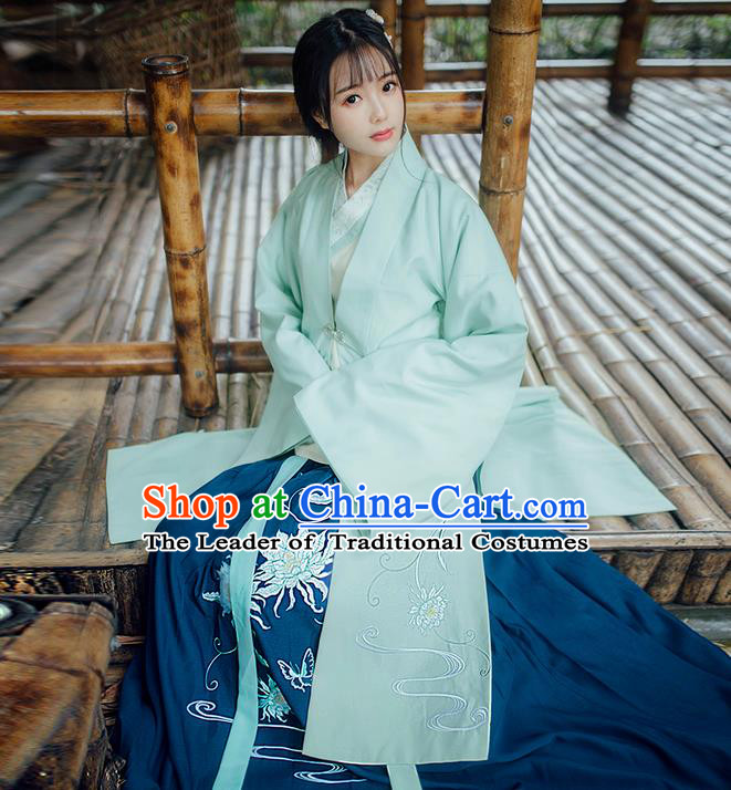 Traditional Ancient Chinese Young Lady Elegant Costume Embroidered Epiphyllum Wide Sleeve Cardigan, Elegant Hanfu Clothing Chinese Ming Dynasty Imperial Princess Clothing for Women