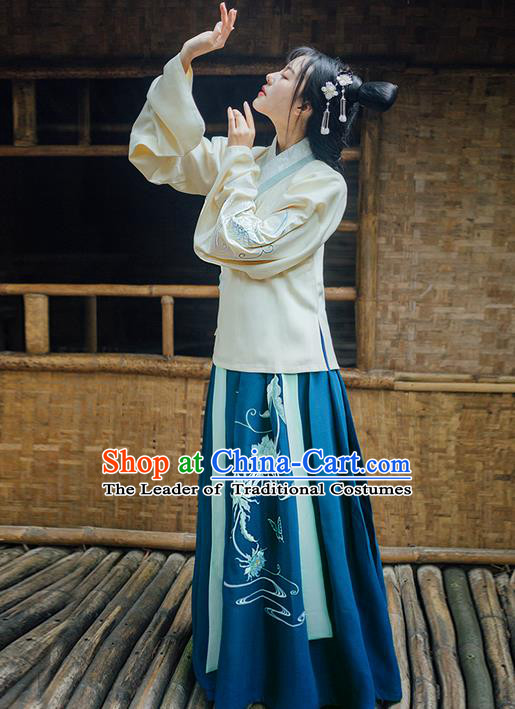 Traditional Ancient Chinese Young Lady Elegant Costume Embroidered Epiphyllum Slant Opening Blouse and Deep Blue Slip Skirt Complete Set, Elegant Hanfu Clothing Chinese Ming Dynasty Imperial Princess Clothing for Women