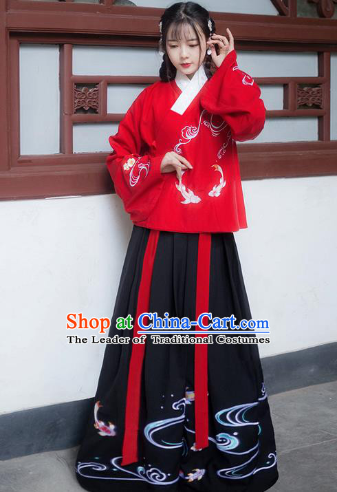 Traditional Ancient Chinese Young Lady Elegant Costume Embroidered Fancy Carp Slant Opening Blouse and Black Slip Skirt Complete Set, Elegant Hanfu Clothing Chinese Ming Dynasty Imperial Princess Clothing for Women