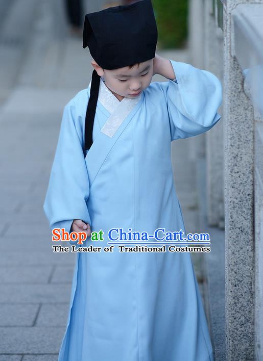 Traditional Ancient Chinese Children Elegant Costume Slant Opening Robe, Elegant Hanfu Clothing Chinese Ming Dynasty Scholar Clothing for Kids