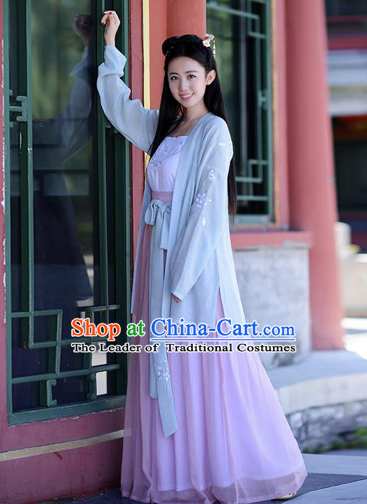 Traditional Ancient Chinese Young Lady Costume Embroidered Blouse Boob Tube Top and Slip Skirt Complete Set, Elegant Hanfu Suits Clothing Chinese Ming Dynasty Imperial Princess Dress Clothing for Women