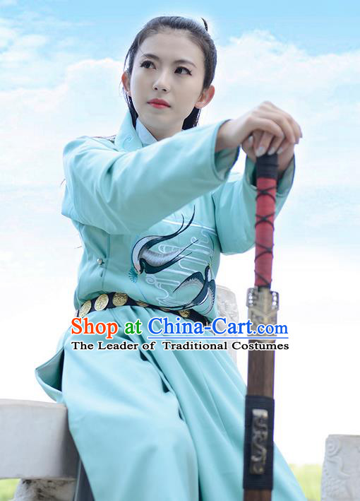 Traditional Chinese Ancient Hanfu Jiang Hu Swordsman Tang Dynasty Imperial Bodyguard Blue Robe Costume for Women for Men