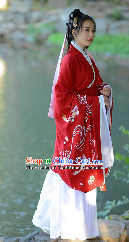 Traditional Ancient Chinese Young Lady Costume Embroidered Red Song Fringing and Belt, Elegant Hanfu Curving-Front Unlined Garment Dress Chinese Han Dynasty Imperial Princess Dress Clothing for Women
