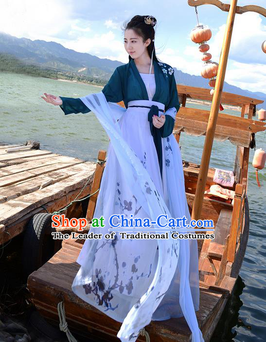 Traditional Ancient Chinese Young Lady Costume Embroidered Green Blouse Boob Tube Top and Slip Skirt Complete Set, Elegant Hanfu Suits Clothing Chinese Tang Dynasty Imperial Princess Dress Clothing for Women