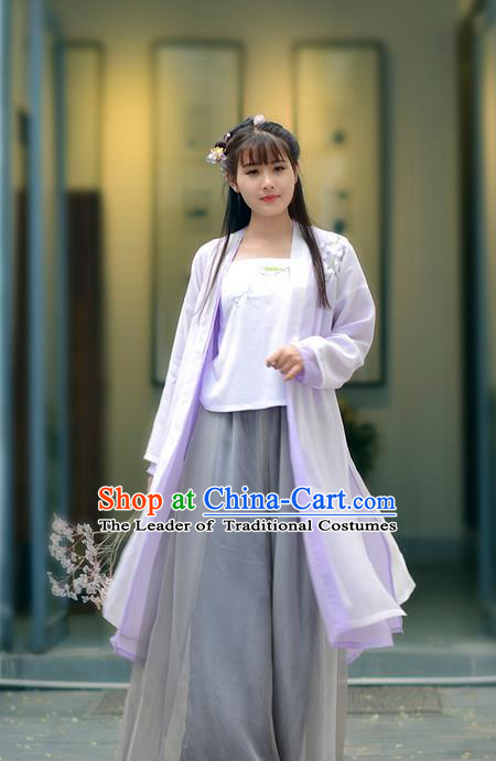 Traditional Ancient Chinese Young Lady Costume Embroidered Purple Cardigan Blouse Boob Tube Top and Slip Skirt Complete Set, Elegant Hanfu Suits Clothing Chinese Song Dynasty Imperial Princess Dress Clothing for Women
