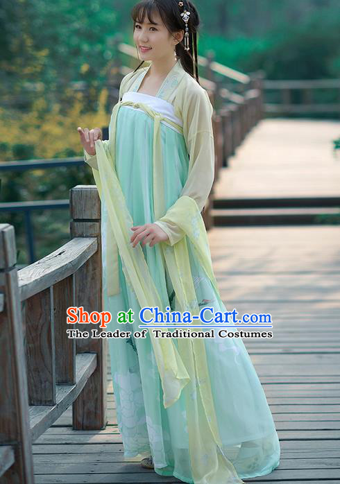 Traditional Ancient Chinese Young Lady Costume Embroidered Blouse and Light Blue Slip Skirt Complete Set, Elegant Hanfu Suits Clothing Chinese Tang Dynasty Imperial Princess Dress Clothing for Women
