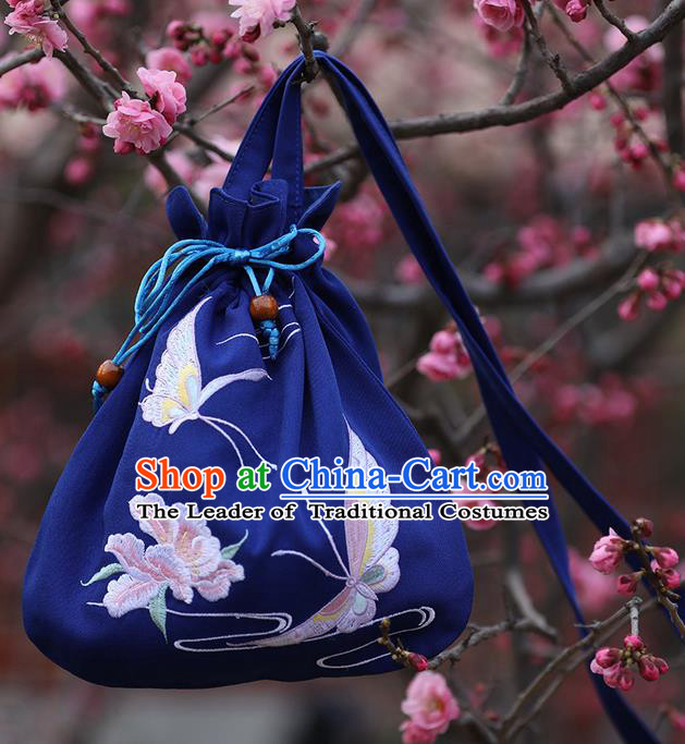 Traditional Ancient Chinese Young Lady Elegant Embroidered Butterfly Royalblue Handbags Cloth Bags for Women